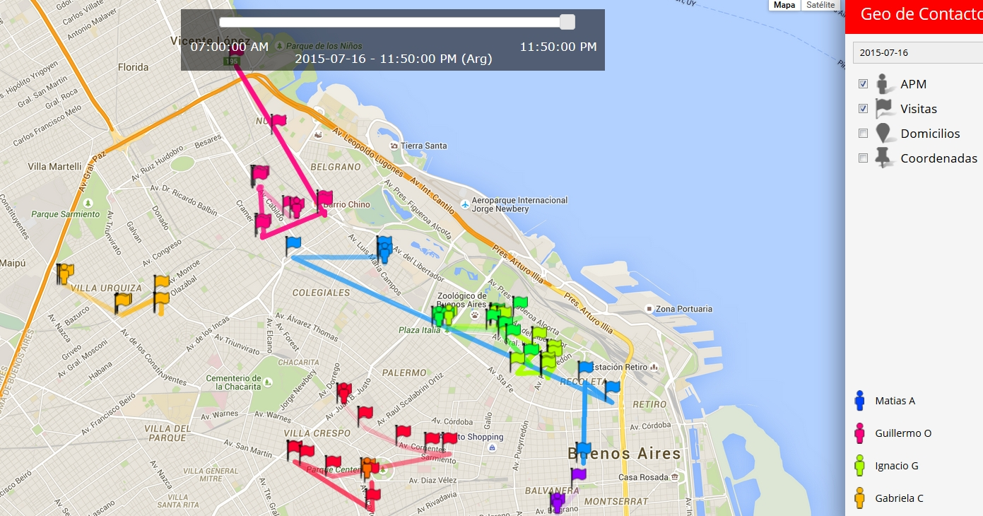 Mapa de tracking de relevadores en tiempo real
