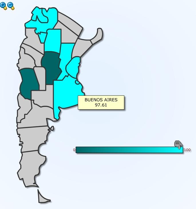 Mapa resumen de presencia en vidriera o interior de farmacia de provincias